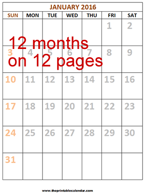 12 monthly calendar 2016 12 pages from