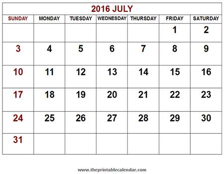 2016 july calendar or preview of printable 2016 july calendar