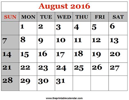 August 2016 Printable Calendars