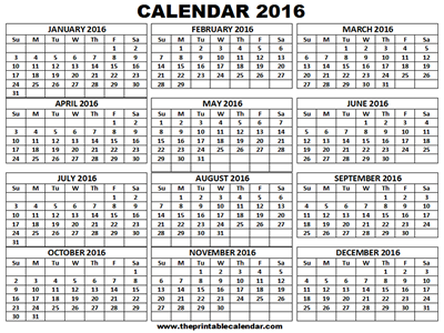 Printable 2016 Calendar One Page 12 Month Calendar