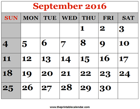 Preview of September 2016 printable calendar - Large dates: