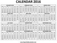 2016 calendar one page - 1 page calendar 2016