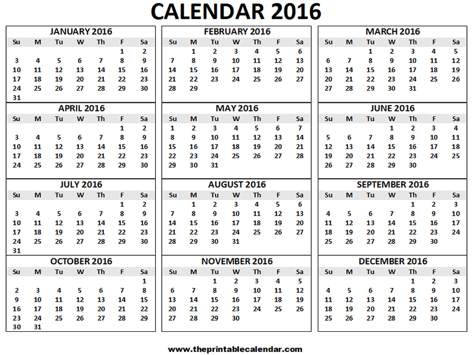 2016 Calendar printable- 12 months calendar on one page ...