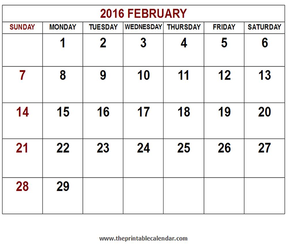 Printable 2016 February calendar