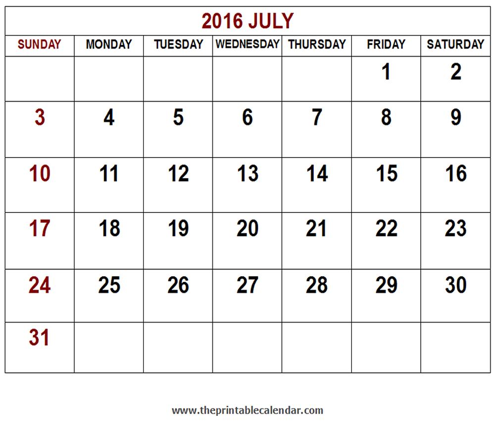 Printable 2016 July calendar