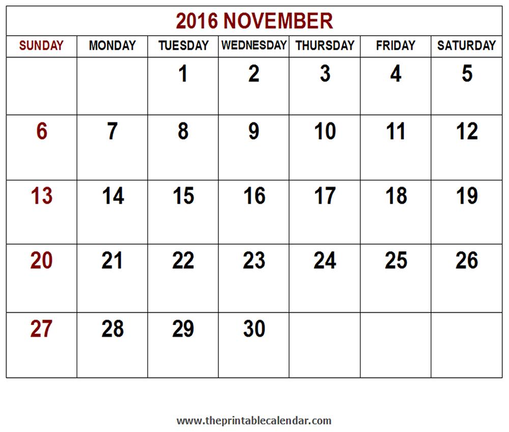 Printable 2016 November calendar