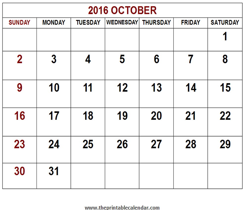 October Calendar 2016 : Printable october calendar