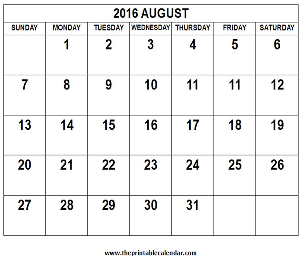 August 2016 Calendar Image