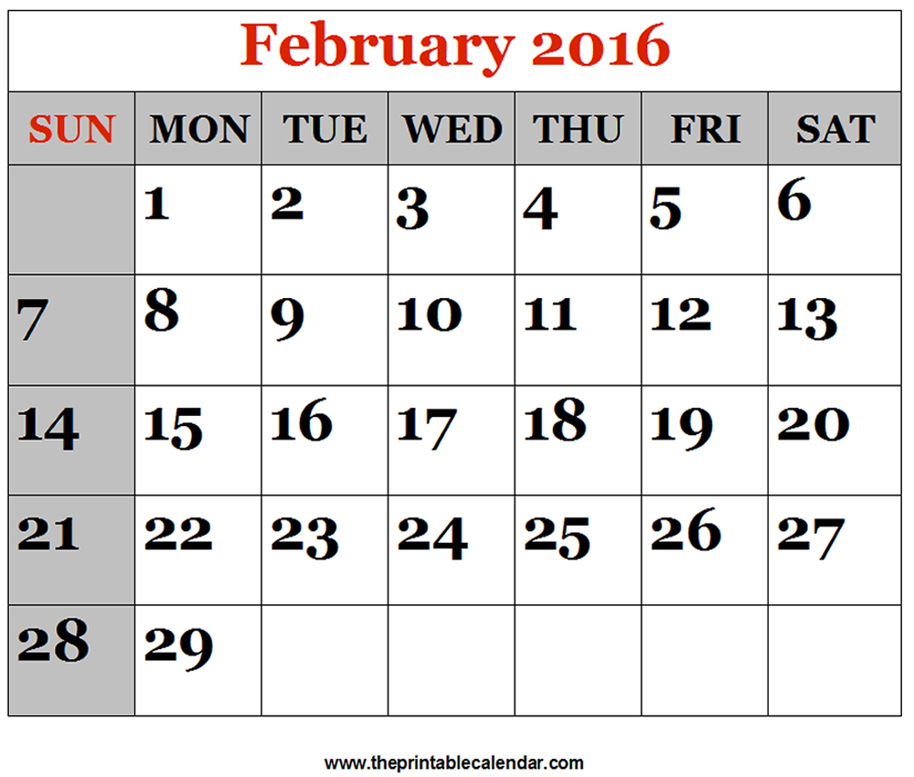 photo relating to Printable Calendar Feb. titled February 2016 printable Calendars