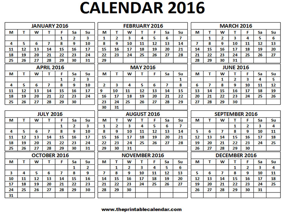 2016 Calendar - 12 months calendar on one page - Free Printable ...