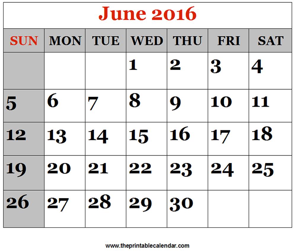 June 2016 Printable Calendars