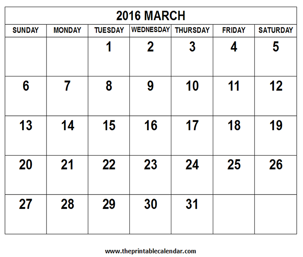 2016 March Calendar Printable | Calendar Template 2016