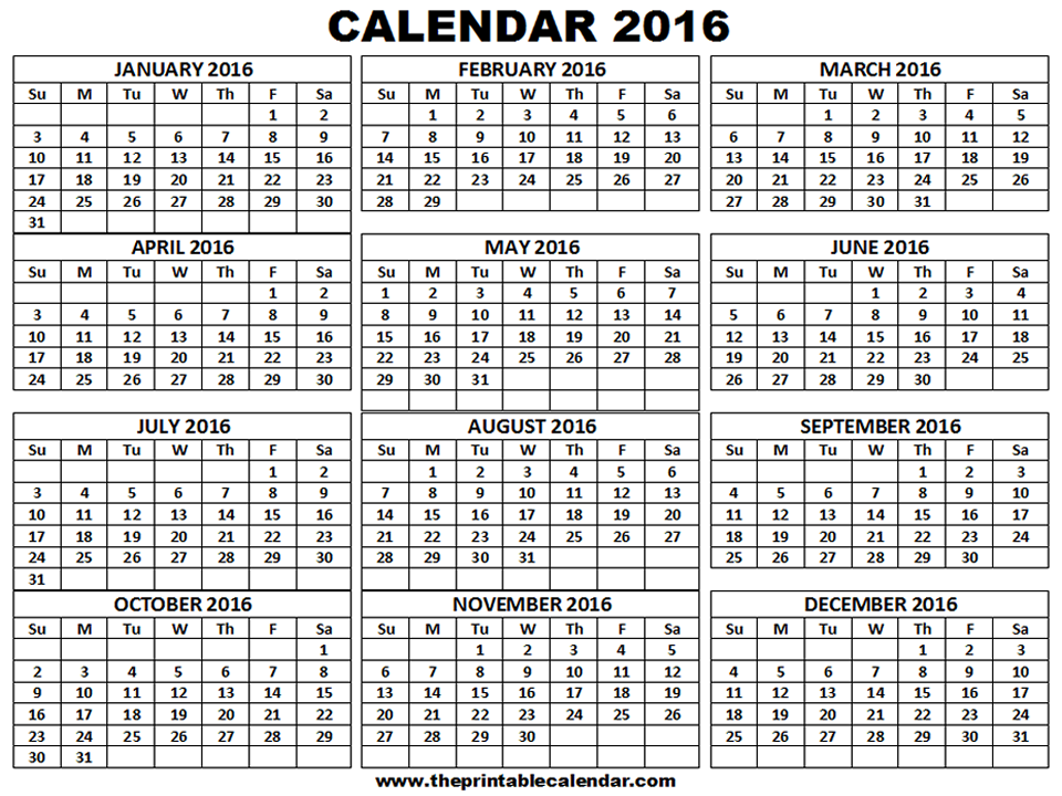 Printable 2016 Calendar - one page 12 month calendar ...